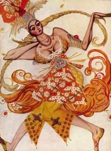 Diseño de vestuario por Léon Bakst para el ballet L'Oiseau de feu en 1910